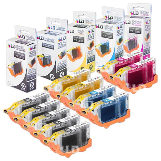 LD Canon i860, Pixma iP4000, iP5000, MP750 and MP780 Compatible Set of 11 Ink Cartridges: 3 Blk BCI3eBK, 2 each of