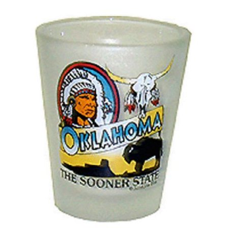 Oklahoma Frosted Sooner State Shot Glass Oklahoma Sooners Glass