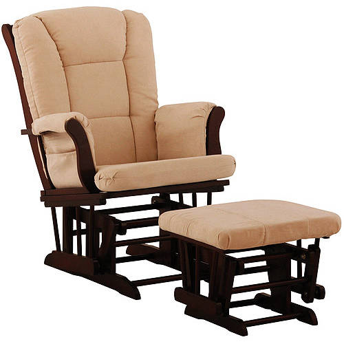 Storkcraft Tuscany Glider and Ottoman with Lumbar Pillow Cherry with Sage Cushions
