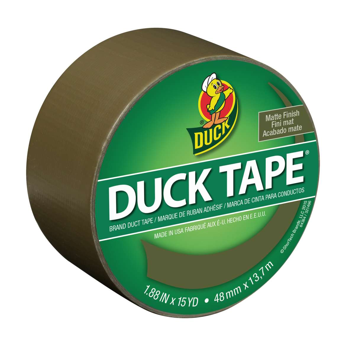"Color Duck Tape Brand Duct Tape, Olive, 1.88"" x 10 yd"