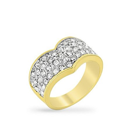 Clear Crystal Cocktail Ring - 18k Gold Plated and Cocktail Ring with Pave Clear Crystals in Chevron Shape in Two-Tone Size 8
