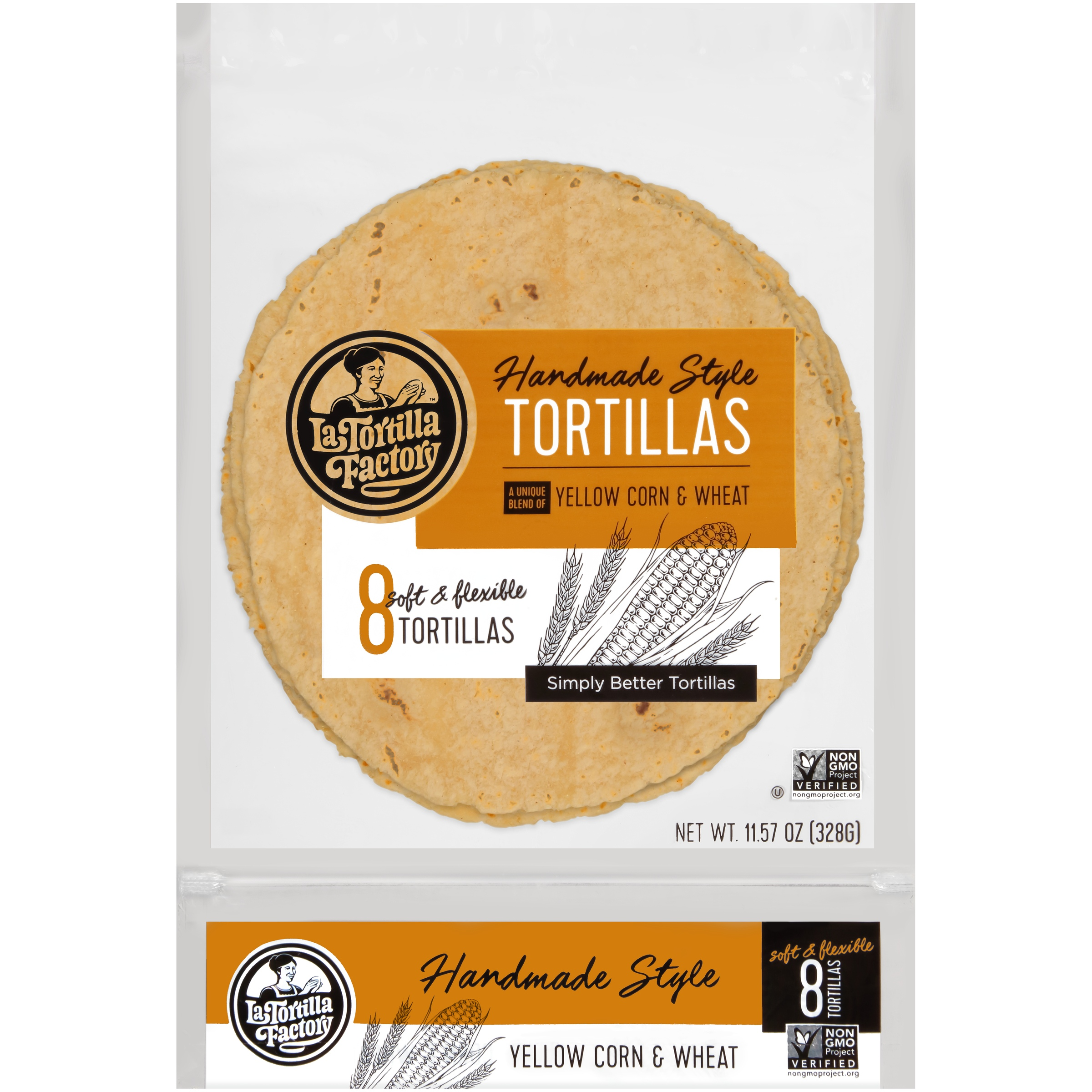 La Tortilla Factory® Yellow Corn & Wheat Handmade Style Tortillas 8 ct Bag