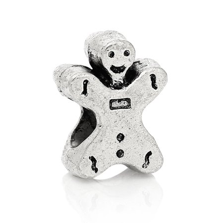 SEXY SPARKLES Gingerbread Man Christmas European Charm Spacer Bead for Snake Chain Charm Bracelets