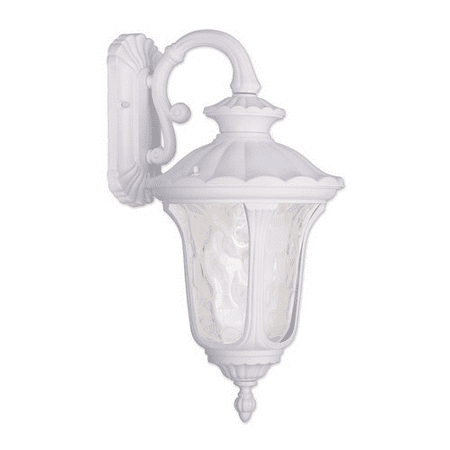 Wall Sconces 1 Light With White Clear Water Glass Material Cast Aluminum Outdoor Fixture Medium Base 19 inch 100 Watts - World of