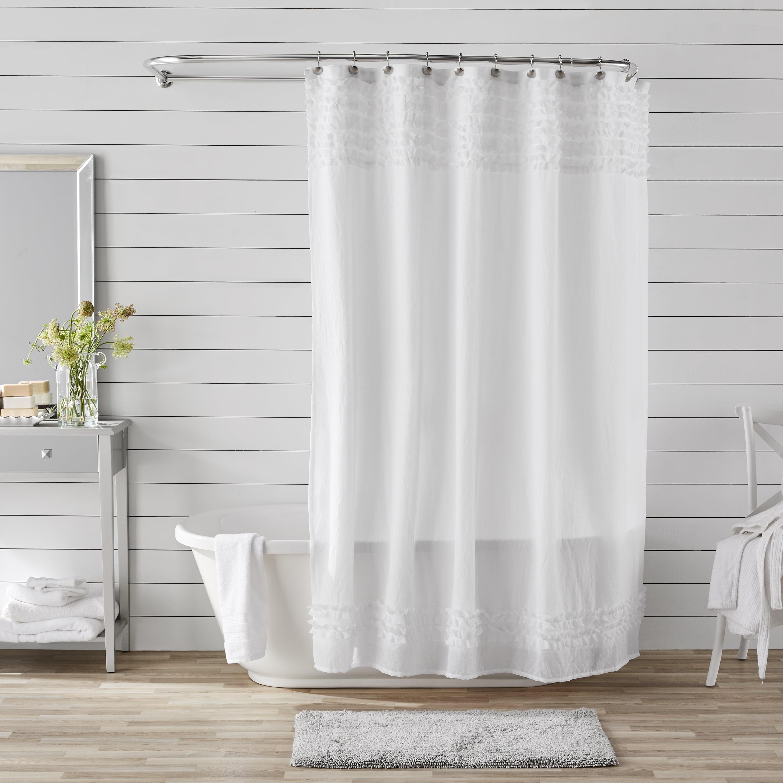 Better Homes & Gardens Banded Ruffles Shower Curtain