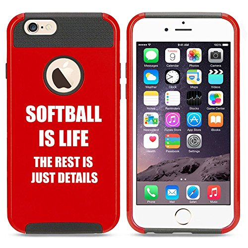Apple iPhone 5 5s Shockproof Impact Hard Case Cover Softball Is Life (Red),MIP