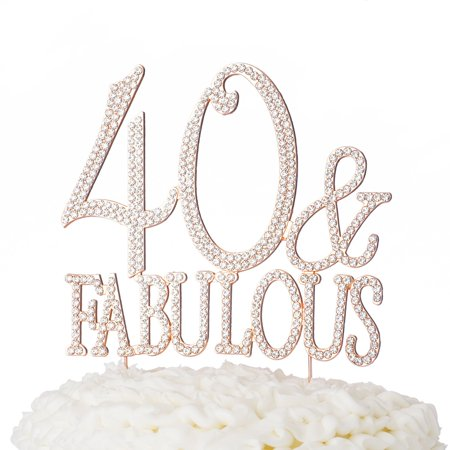40 & Fabulous Cake Topper for 40th Birthday Party Supplies Rose Gold  Decoration (40 & Fabulous Rose Gold)