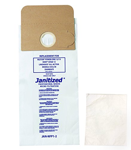 Janitized JAN-NFP1-2(10) Paper Premium Replacement Commercial Vacuum Bag For Kent Edge 12, Lindhaus, Advance Power One Vacuum Cleaners (10-10 packs) - image 1 of 1