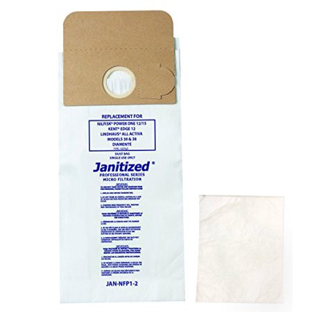 Janitized JAN-NFP1-2(10) Paper Premium Replacement Commercial Vacuum Bag For Kent Edge 12, Lindhaus, Advance Power One Vacuum Cleaners (10-10 packs) - image 1 de 1