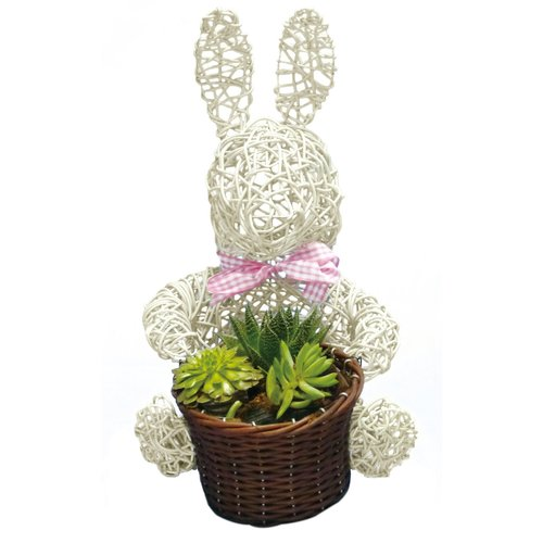 Gardener Select Bunny Topiary 10'' Wicker Pot Planter