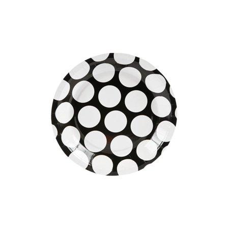 Large Black Polka Dot Dessert Plates](Black And White Polka Dot Plates)