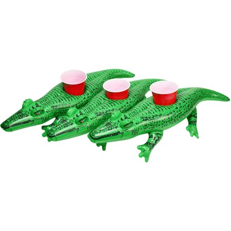 GoFloats Inflatable Gator Drink Holder, 3-Pack, Float your drinks in style
