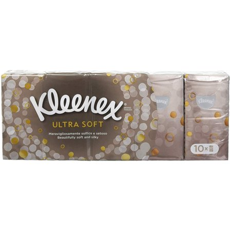 Small Pocket Pack Kleenex Ultra Soft & Strong Facial Tissues - 10 Small Packs (Total 90 Tissues)