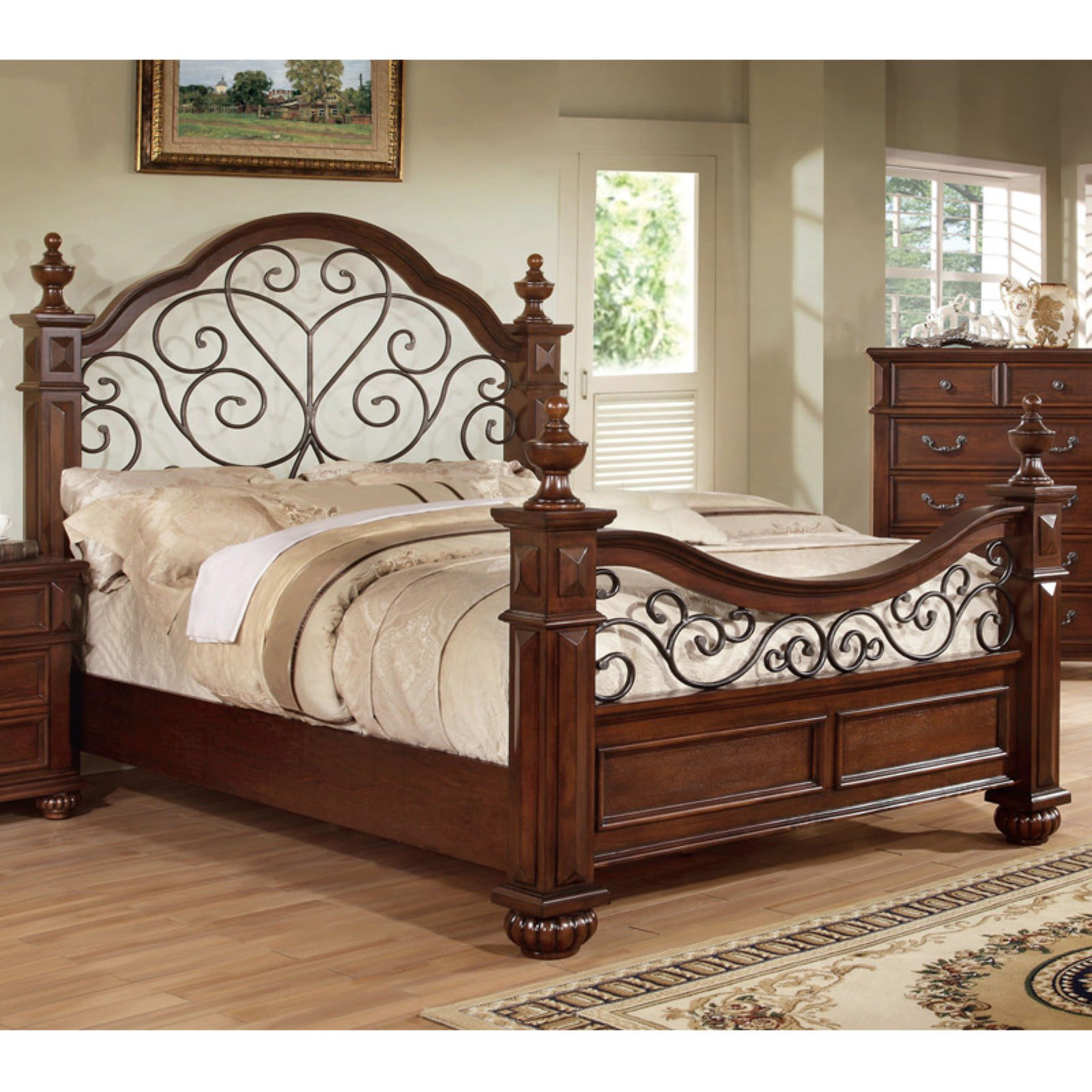 Furniture of America Spiral Stranda Mansion Poster Bed