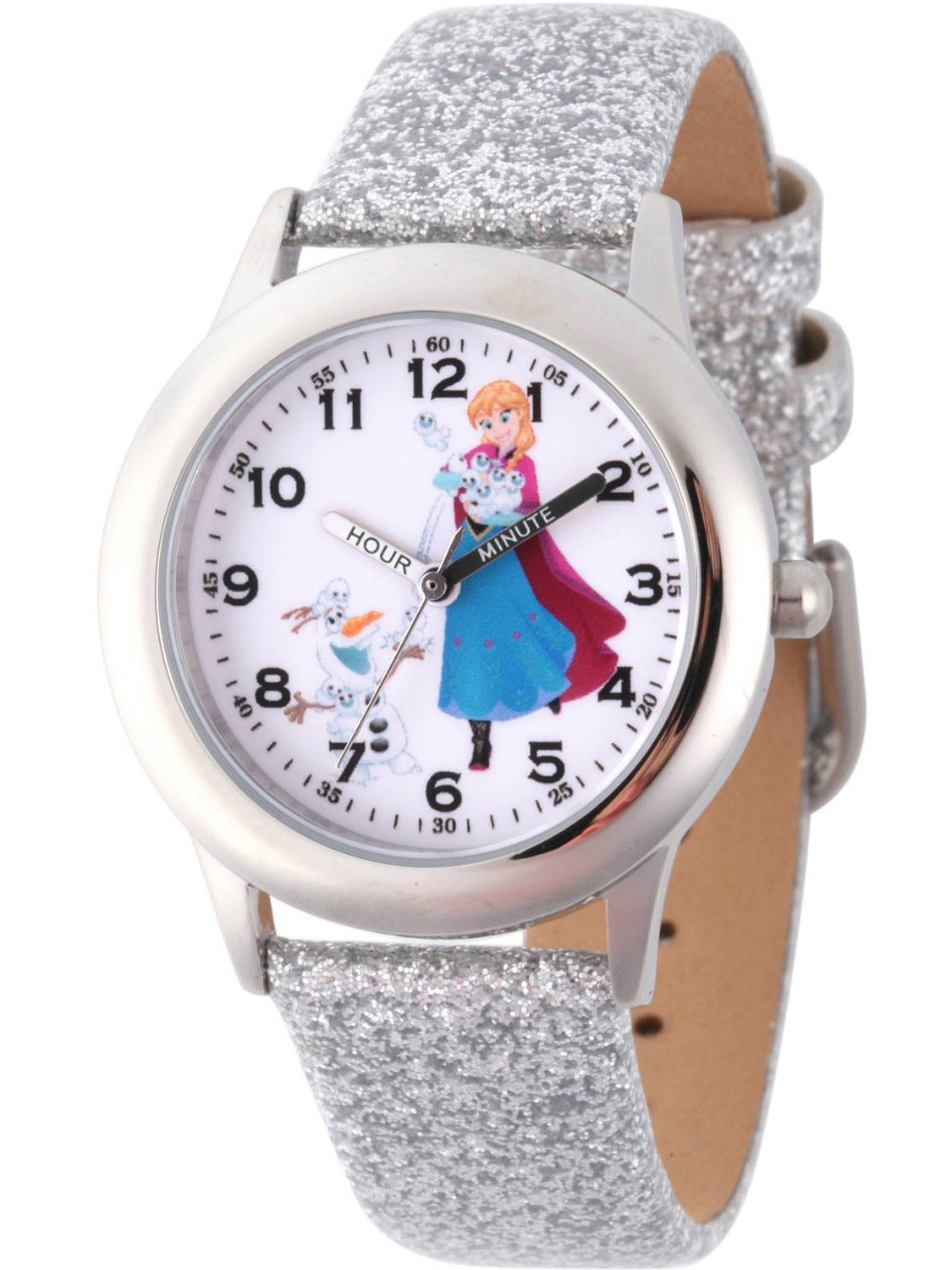 Disney Frozen Anna and Olaf Girls' Stainless Steel Time Teacher Watch, Silver Glitter Leather Strap
