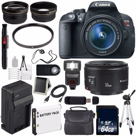 Cmos Lens - 6Ave Canon EOS Rebel T5i 18 MP CMOS Digital SLR Camera w/EF-S 18-55mm Lens International Version (no Warranty) + Canon EF 50mm Lens + 58mm 2x Telephoto Wide Angle Lenses Bundle 21