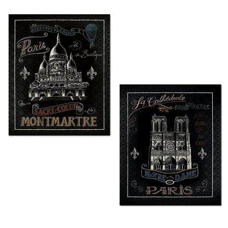 Beautiful paris france landmarks montmartre and notre dame on black by daphne brissonnet two 11x14