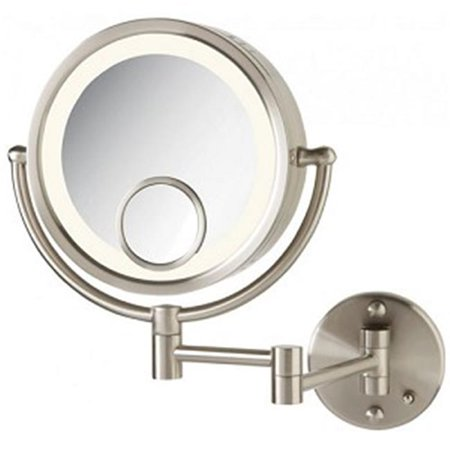 Jerdon Style HL8515N 8.5 in., 7X-1X-15X Halo Lighted Wall Mirror, Nickel Finish