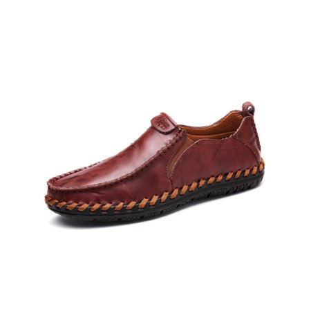 Fashion Mens Leather Driving Flats Shoes Casual Cowhide Moccasins Slip On Loafers (Men Leather Fashion)