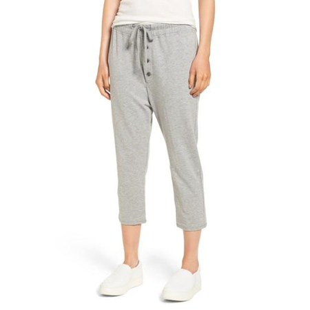 James Perse Slouchy Crop Sweatpants, Heather Grey, 0