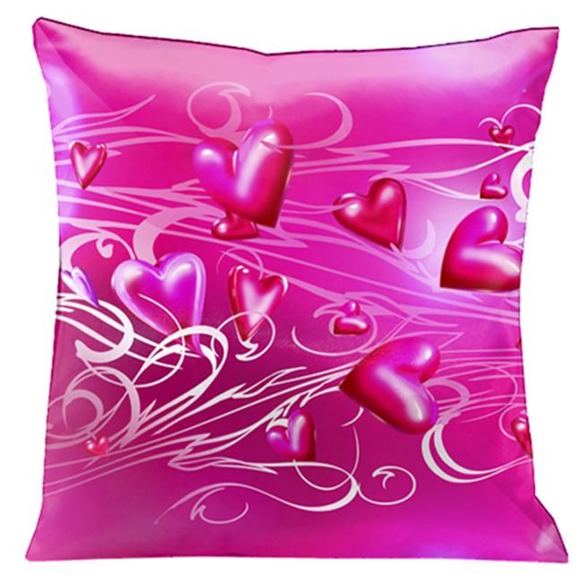 Lama Kasso 171 Hot Pink on Pink with White and Pink Scrolls 18 inch x 18 inch Satin Pillow