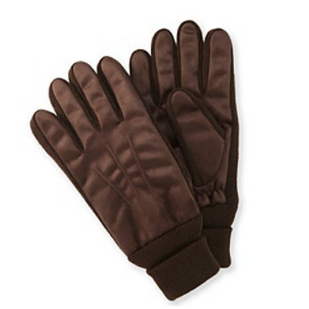 Isotoner Mens Dark Brown Brushed Microfiber Gloves Thinsulate Lined With - Swany Microfiber Gloves
