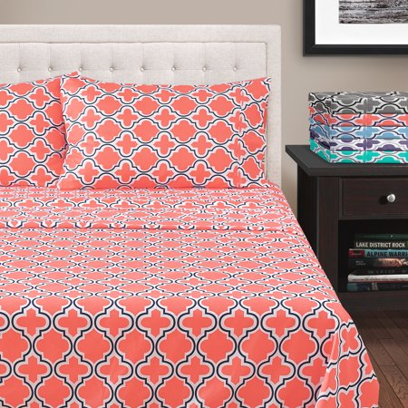 Superior All Season Hypoallergenic, Breathable, Lightweight, Wrinkle, Fade Resistant, Brushed Microfiber Printed Trellis Sheet Set, Twin - Coral