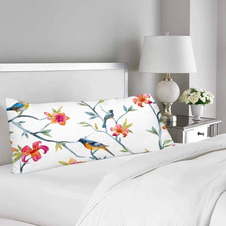 GCKG Watercolor Bird Spring Flower Tree Body Pillow Covers Pillowcase 20x60 inches, Tree Branch Body Pillow Case Protector - image 1 de 2
