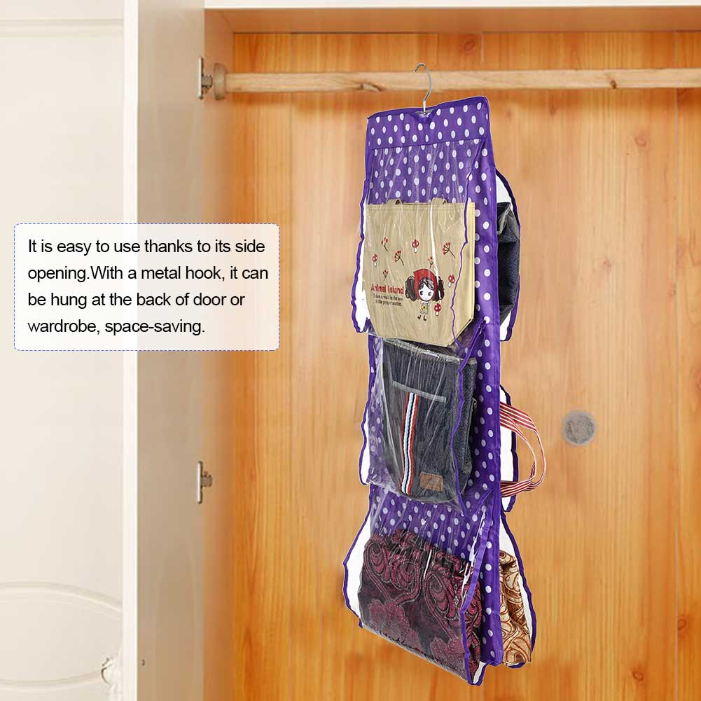VGEBY 6 Pockets Washable Wardrobe Hanging Dustproof Tote Bag Handbag Purse  Storage Organizer , Handbag Storage Organizer, Wardrobe Bag Storage  Organizer 66d6d369ee