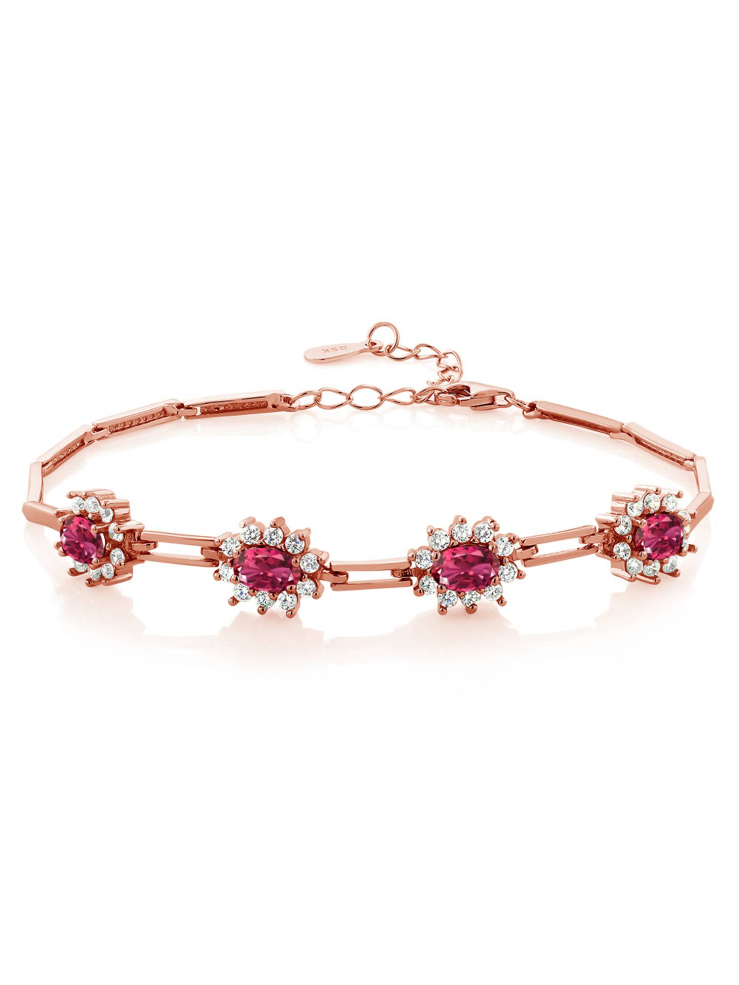 4.00 Ct Oval Pink Tourmaline 18K Rose Gold Plated Silver Bracelet by
