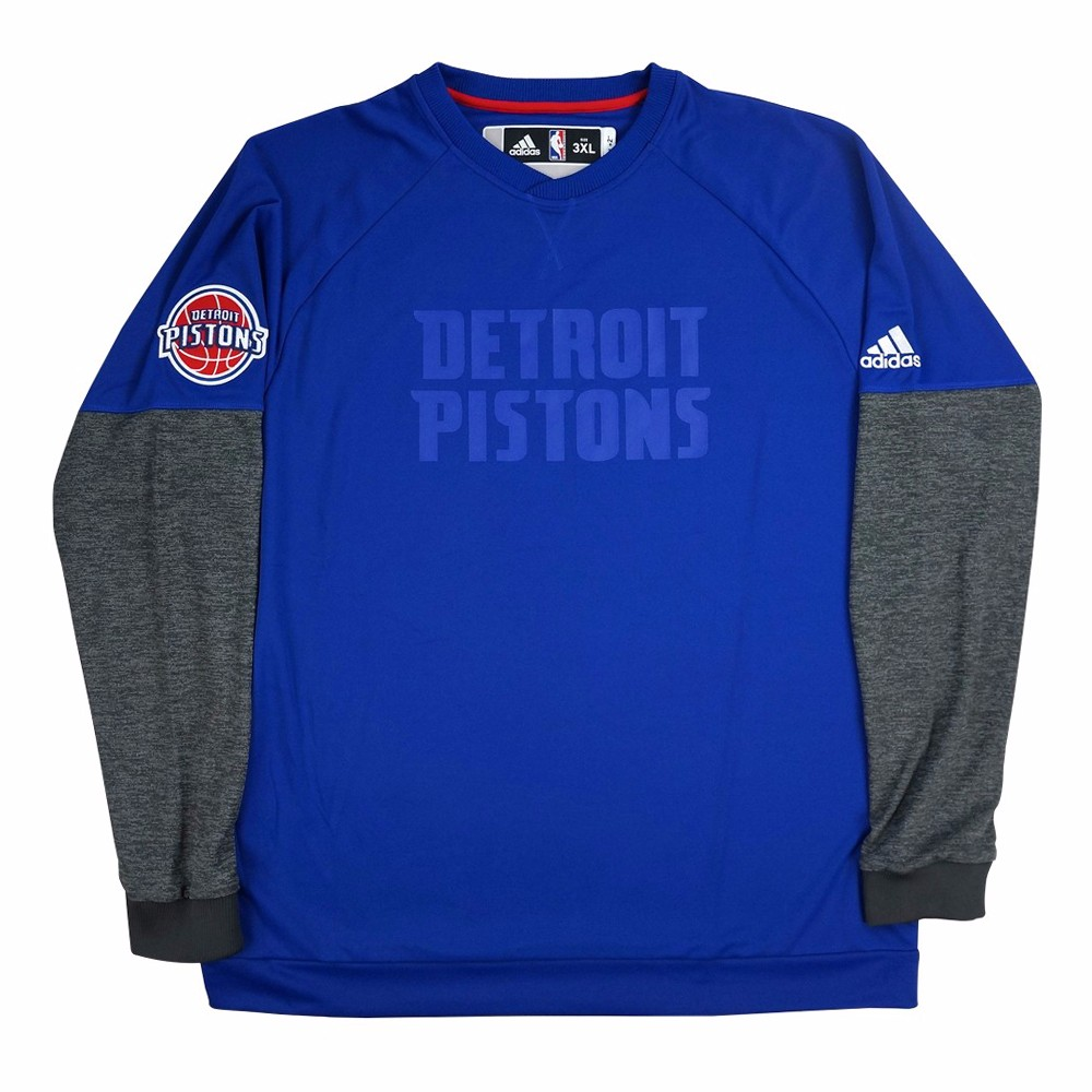 Detroit Pistons NBA Adidas Blue 2016 Christmas Day Team Issued Secon Half Pullover Pro Cut Crew Shirt For Men