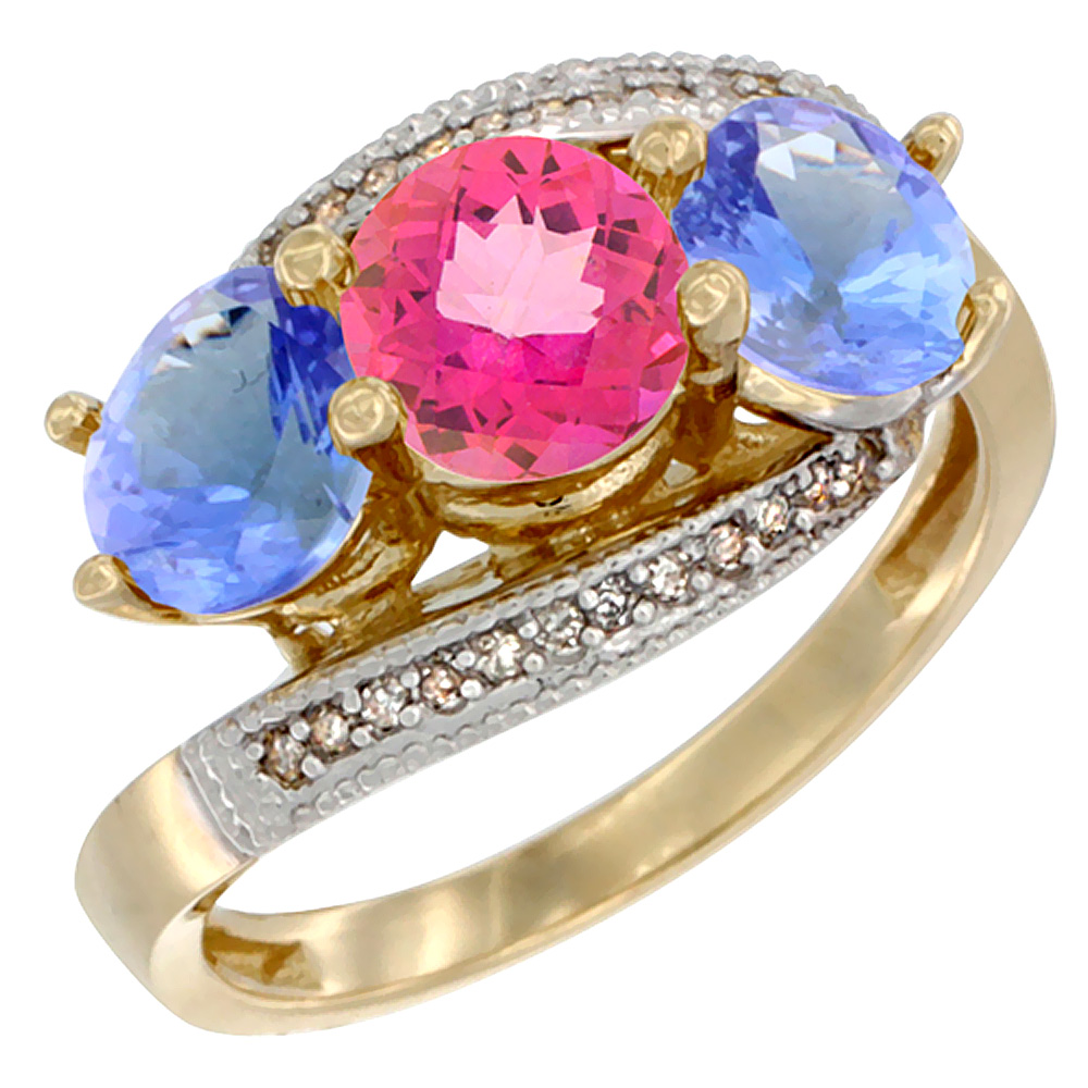 14K Yellow Gold Natural Pink Topaz & Tanzanite Sides 3 stone Ring Round 6mm Diamond Accent, size 5.5 by Gabriella Gold