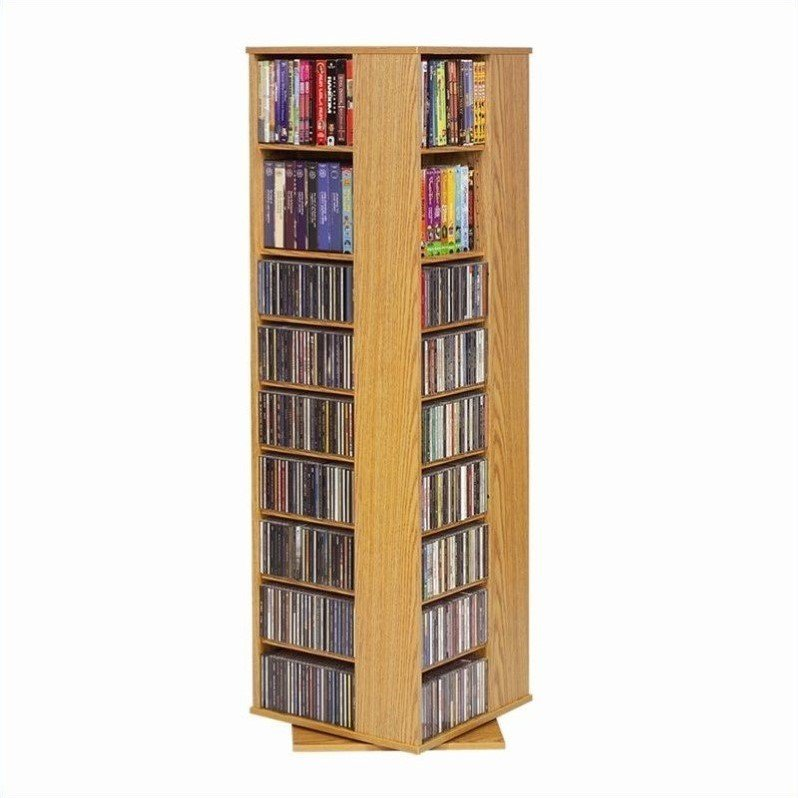 "Leslie Dame 62"" CD DVD Spinning Tower in Oak"