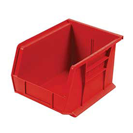 """Plastic Stacking Bin, 8-1/4""""W x 10-3/4""""D x 7""""H, Red, Lot of 6"""