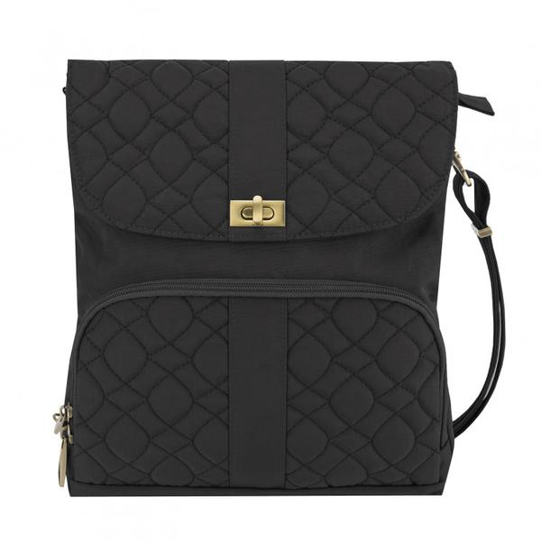 Travelon Anti-Theft Signature Quilted Messenger Bag Black