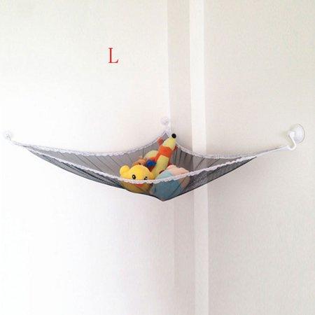 High Quality Baby Bedroom Mesh Bag Child Toy Storage Hammock Suction (Toy Hammock Black)