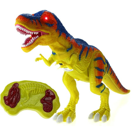 Walking Series Dinosaur World Remote Controlled Battery Operated RC Toy T-Rex Figure w/Shaking Head, Walking Movement, Light Up Eyes & Sounds