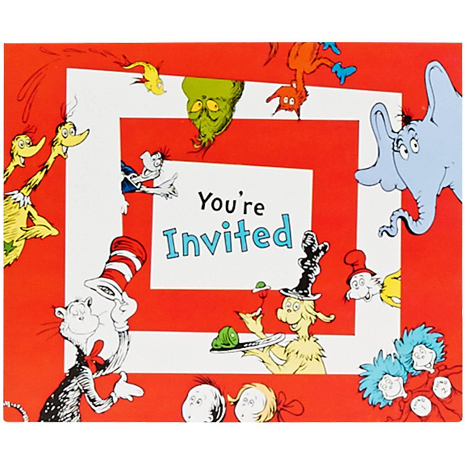 Dr Seuss 1st Birthday Invitations 8Pack Walmartcom