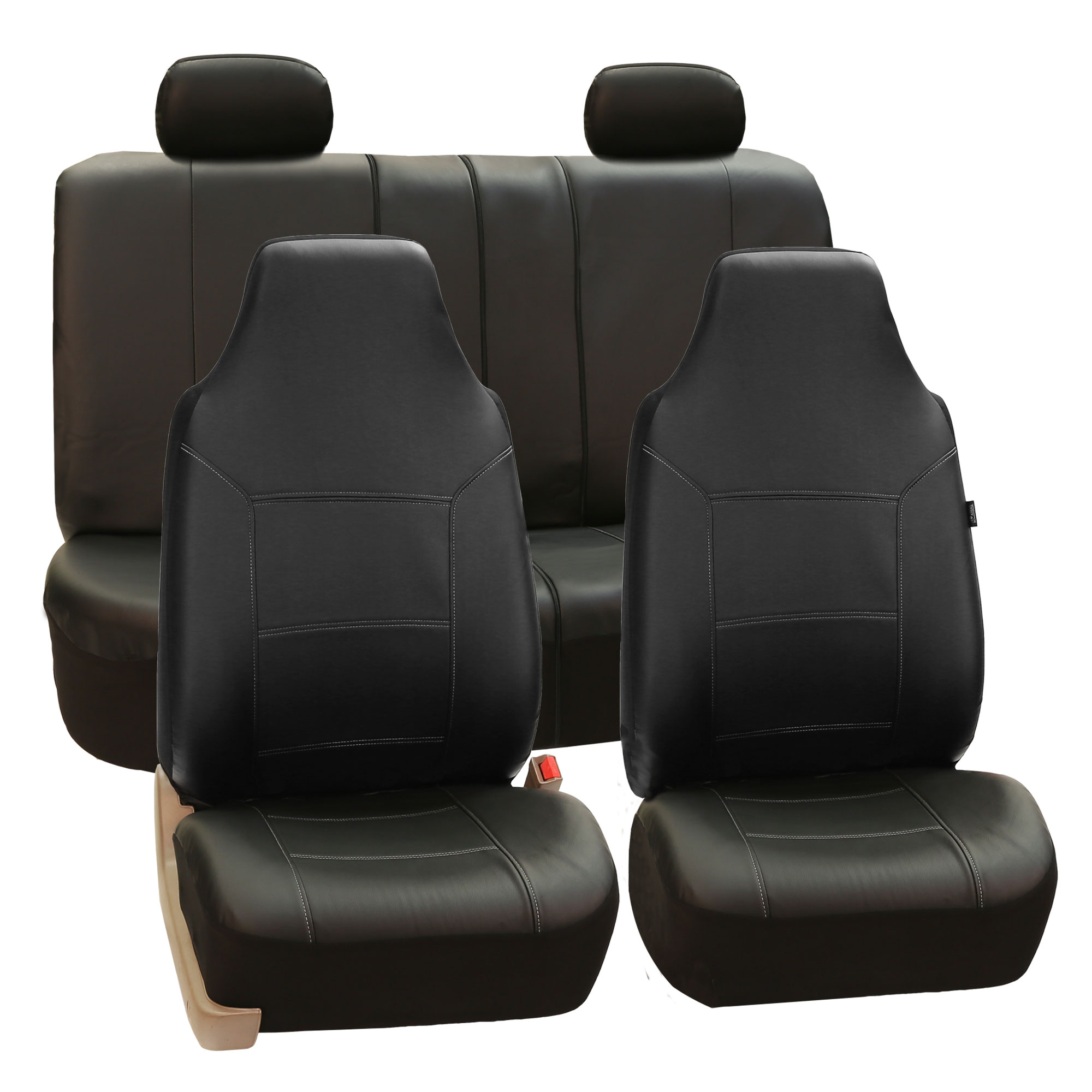 FH Group Royal PU Leather Full Set Airbag Compatible and Split Bench Car Seat Covers, Black
