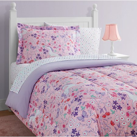 Unicorn Floral 8-Piece Bed in a Bag With Extra Sheet Set