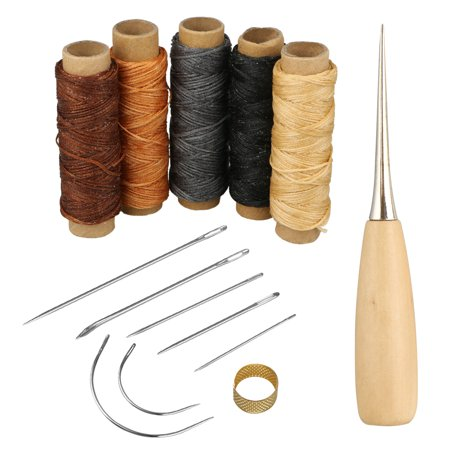 Pulled Thread Stitches - 14Pcs Leather Craft Tool,7pcs Leather Hand Sewing Needle,5 Roll Leather Waxed Thread Cord,1pcs Stitching Awl,1pcs sewing thimble for Leather Upholstery Carpet Canvas DIY Sewing