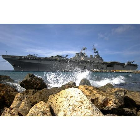 The Amphibious Assault Ship Uss Kearsarge Visiting The Netherlands Antilles For The Humanitarian Service Project Canvas Art   Stocktrek Images  35 X 23