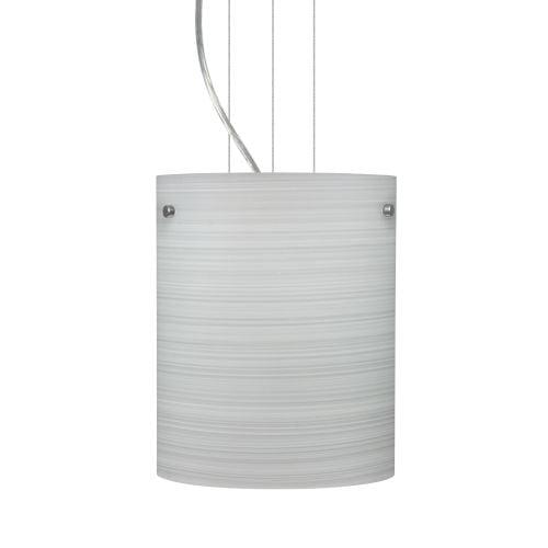 Besa Lighting Tamburo 8 Satin Nickel One-Light Mini Pendant with Chalk Glass