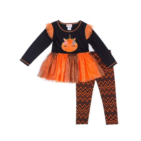 Little Lass Halloween Long Sleeve Tulle Top and Printed Leggings, 2pc Outfit Set (Toddler