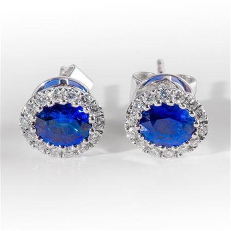 Harry Chad Enterprises 24738 2.60 CT Ceylon Blue Sapphire Oval Diamond Womens Earring - White Gold - image 1 de 1