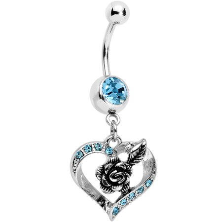Body Candy Aqua Accent Tattoo Rose in a Hollow Heart Dangle Belly - Candy Heart Tattoo