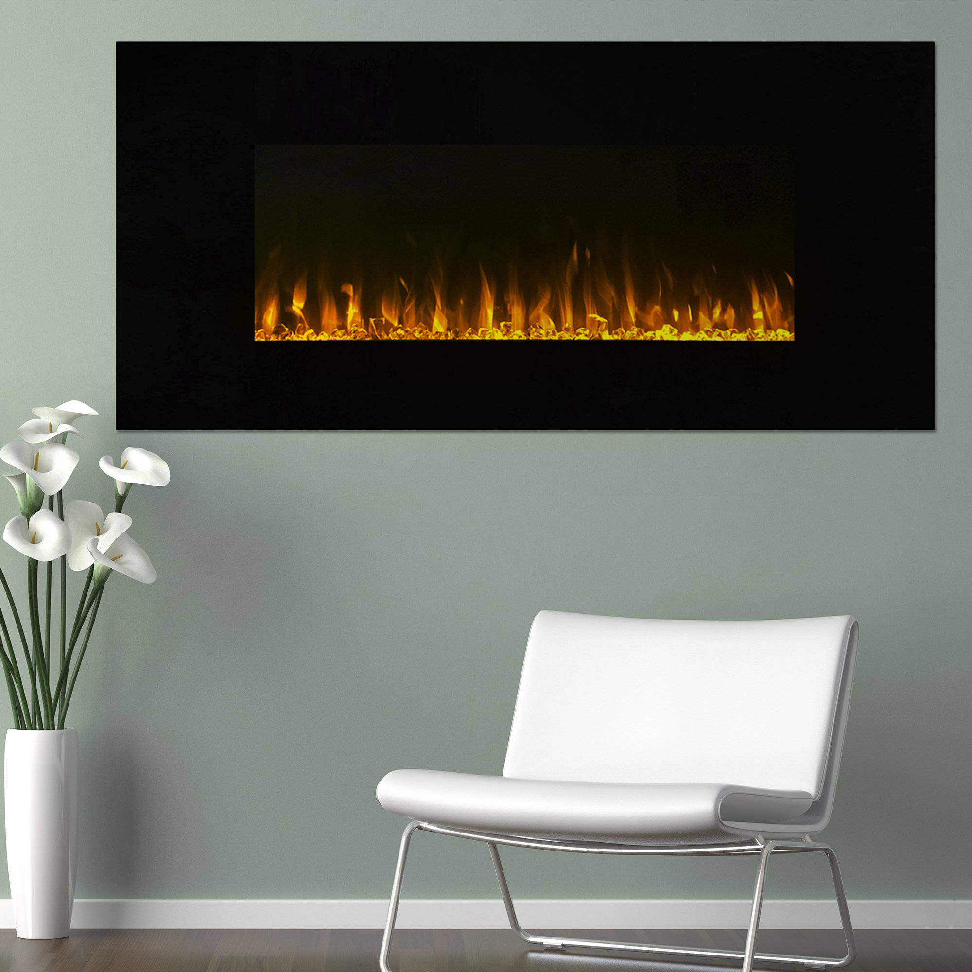 Electric Fireplace Wall Mounted, LED Fire and Ice Flame, With Remote 42 inch by Northwest by Electric Fireplaces