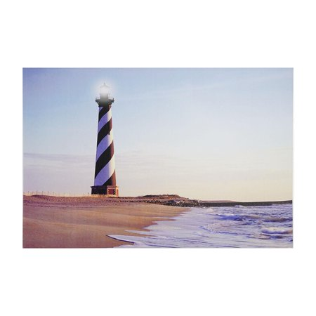 led lighted lighthouse seaside beach scene canvas wall art x 23 5. Black Bedroom Furniture Sets. Home Design Ideas