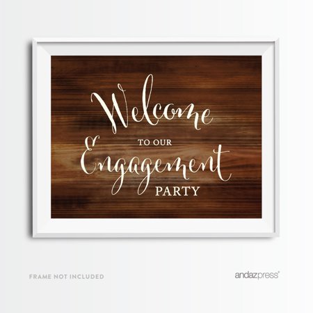 Welcome To Our Engagement Party Rustic Wood Wedding Party Signs