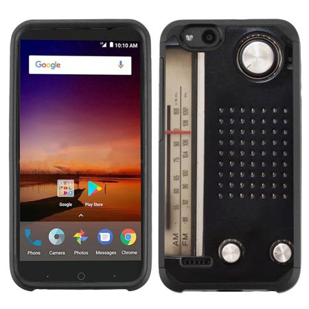 Impact Radio Accessories (Dual-Layer Case for ZTE Avid 4 / Tempo X / Blade Vantage, OneToughShield ® Hybrid Impact Resistant Protector Phone Case - Vintage Radio)